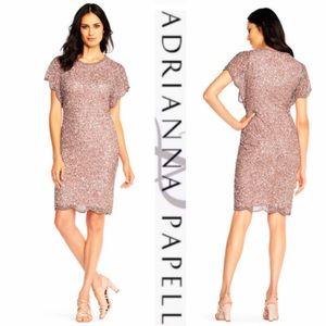 Adrianna Papell flutter sleeve cocktail dress